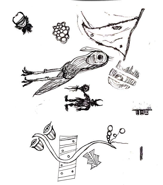 rocketbook doodles and sketches of bird, demon, flag, and other objects 1 oct 2017