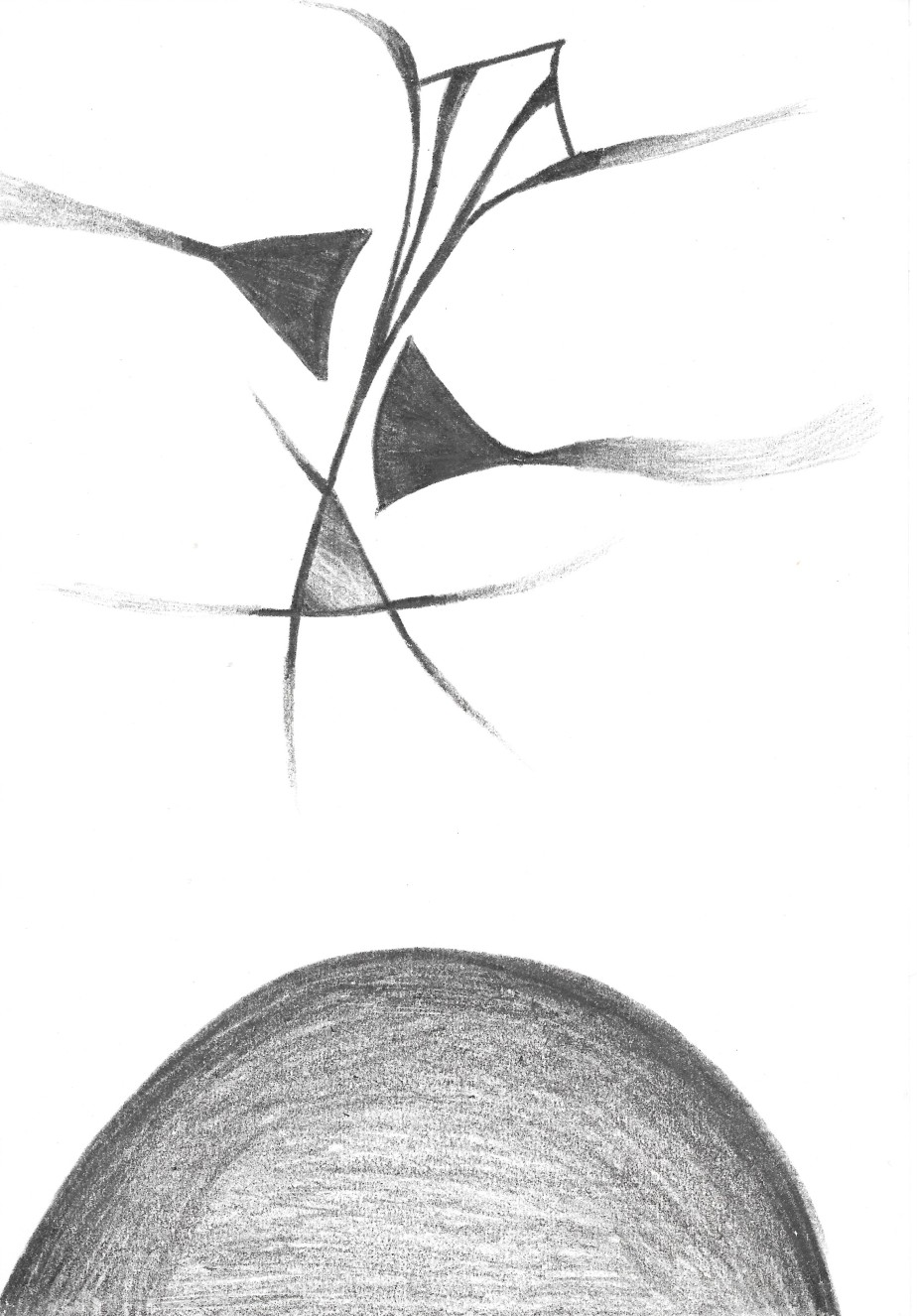 Abstract drawing in black coloured pencil with 4 kite-like abstract forms flying in a column over a black planet-like dome