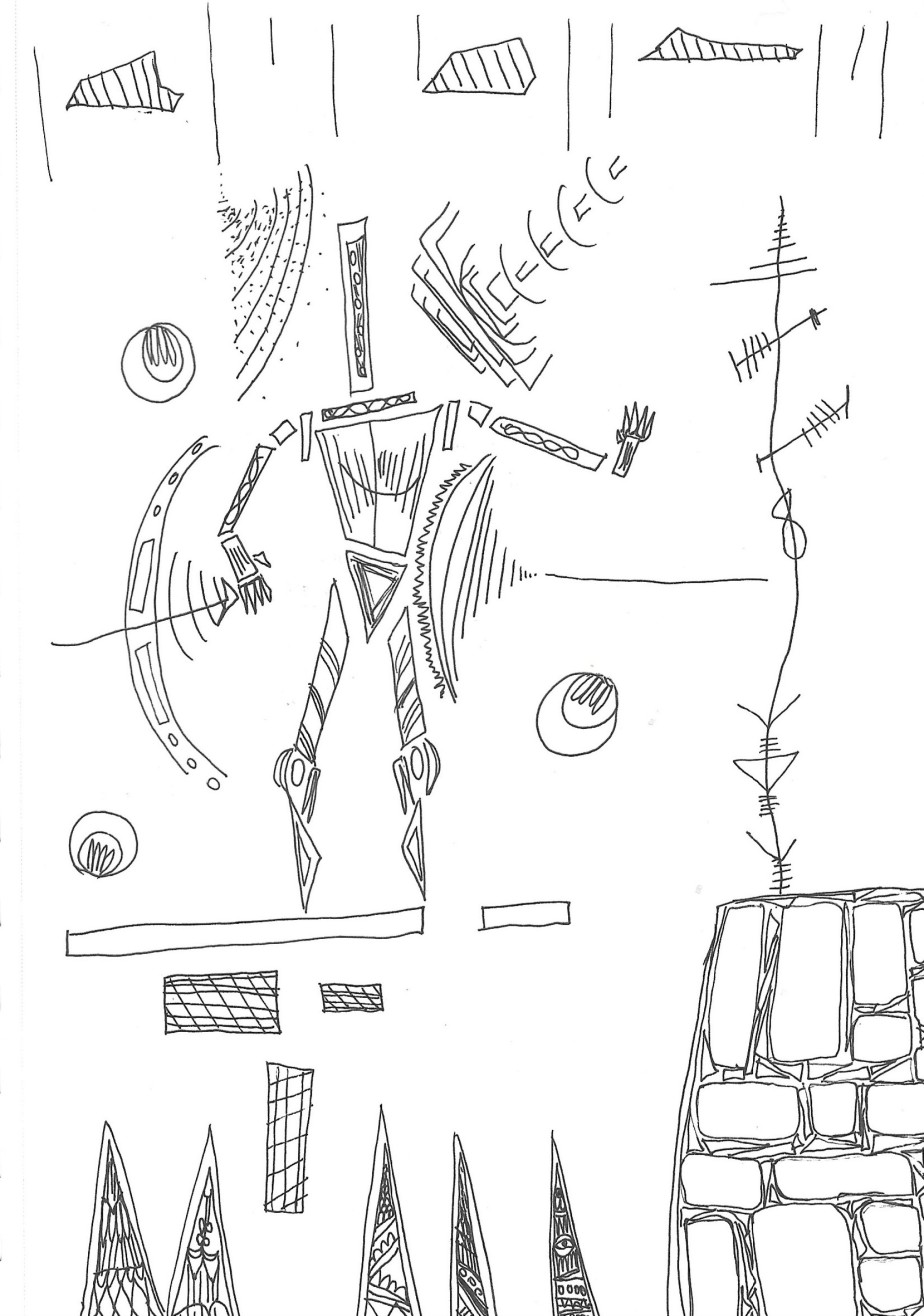 black pen drawing of abstract shapes filled in with patterns that come together to depict a hero character balancing on a platform, surrounded by intimidating shapes that surround the hero.