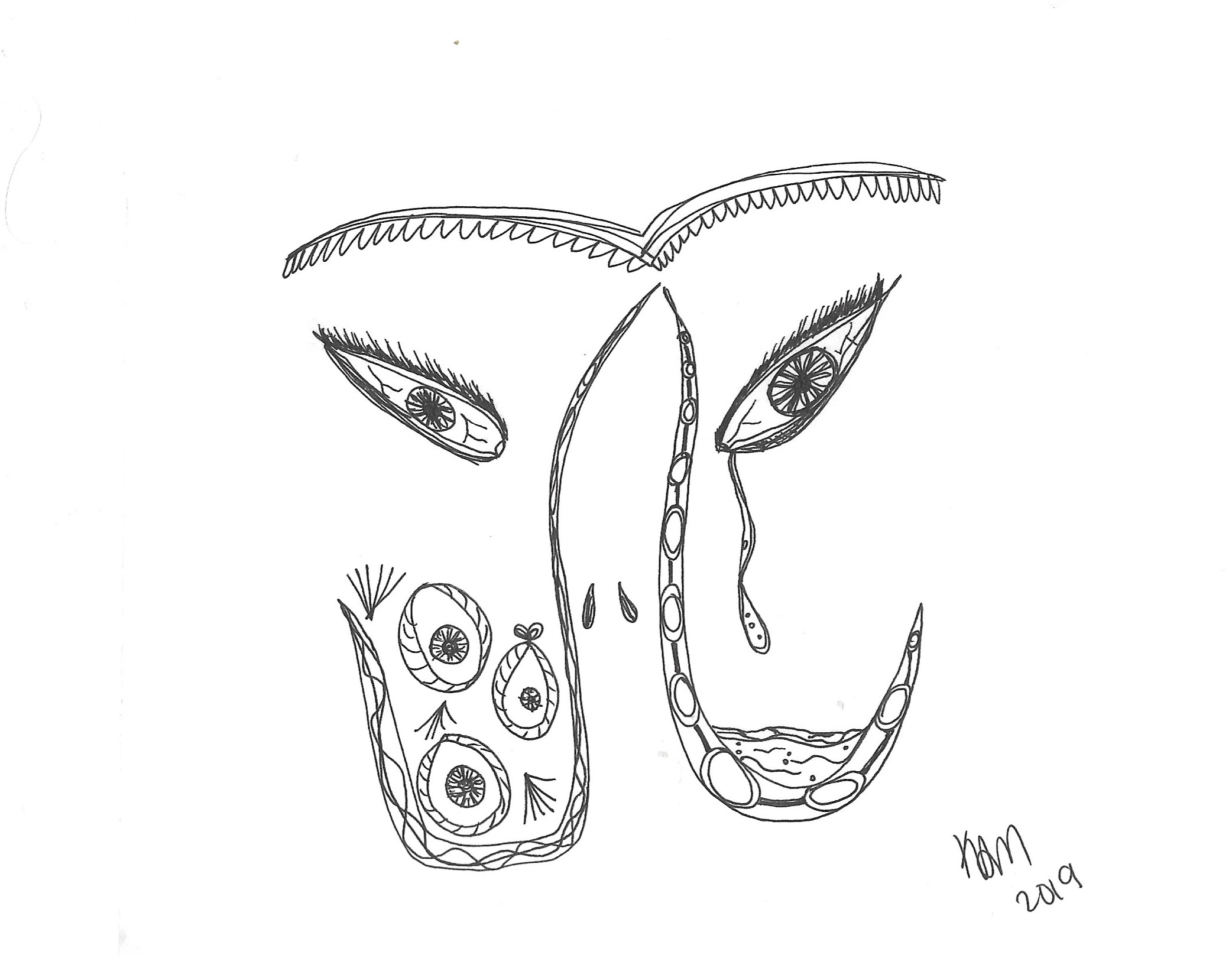 "drawing of decorated connected eyebrows over two thickly lashed eyes. two ladel-shaped abstractions are hanging back to back, with the ""spoon"" parts facing outwards. on the right, the ladle is filled with water and a thick tear runs from the right eye into it. The left ladle has eyes made out of nooses."