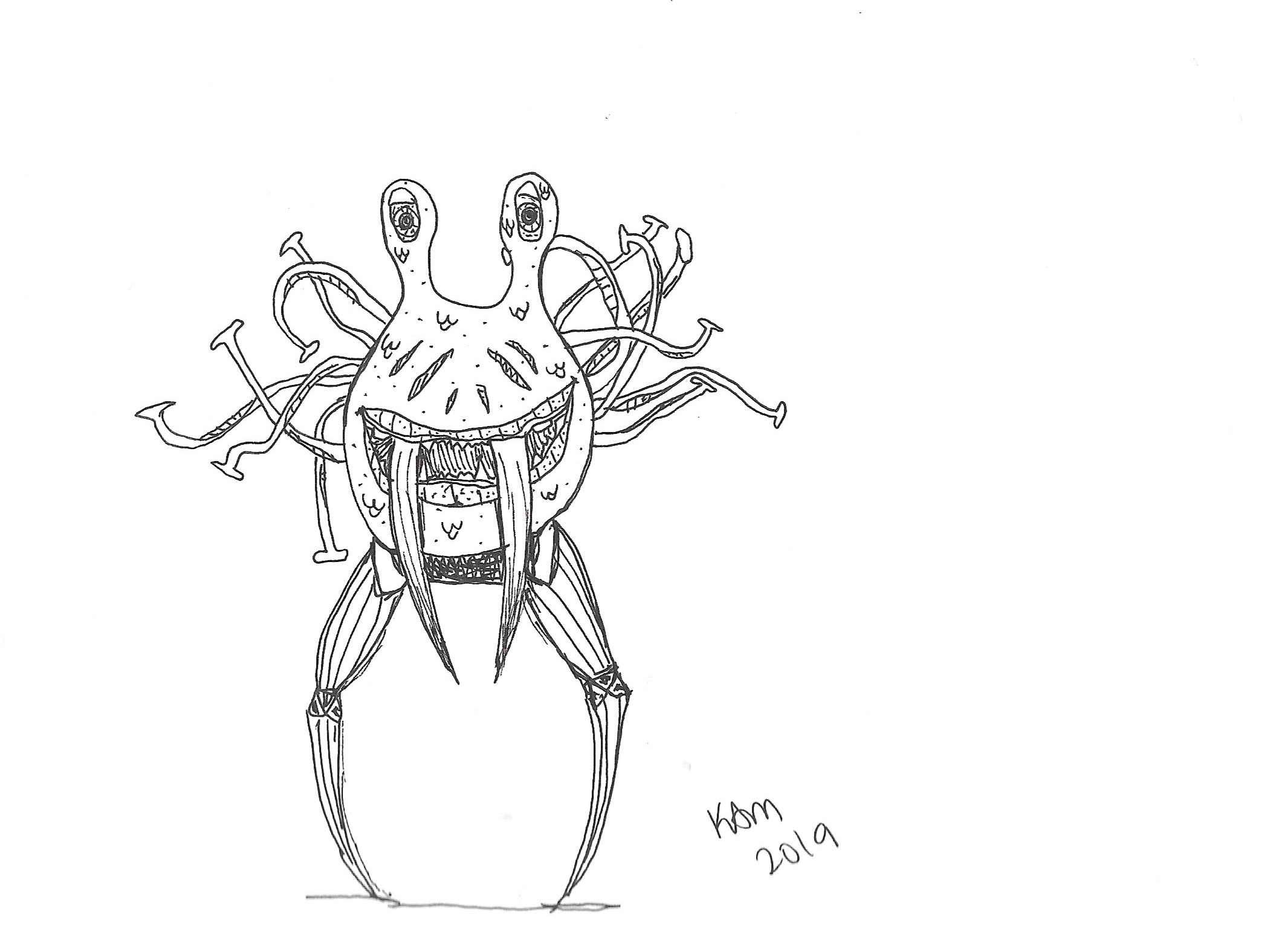 monster creature with two wide eyes looking at the viewer. It has two segmented legs and two large fangs coming out of its mouth, which is smiling. It has thin tentacles sprawled out from the back of its large, blobby head.