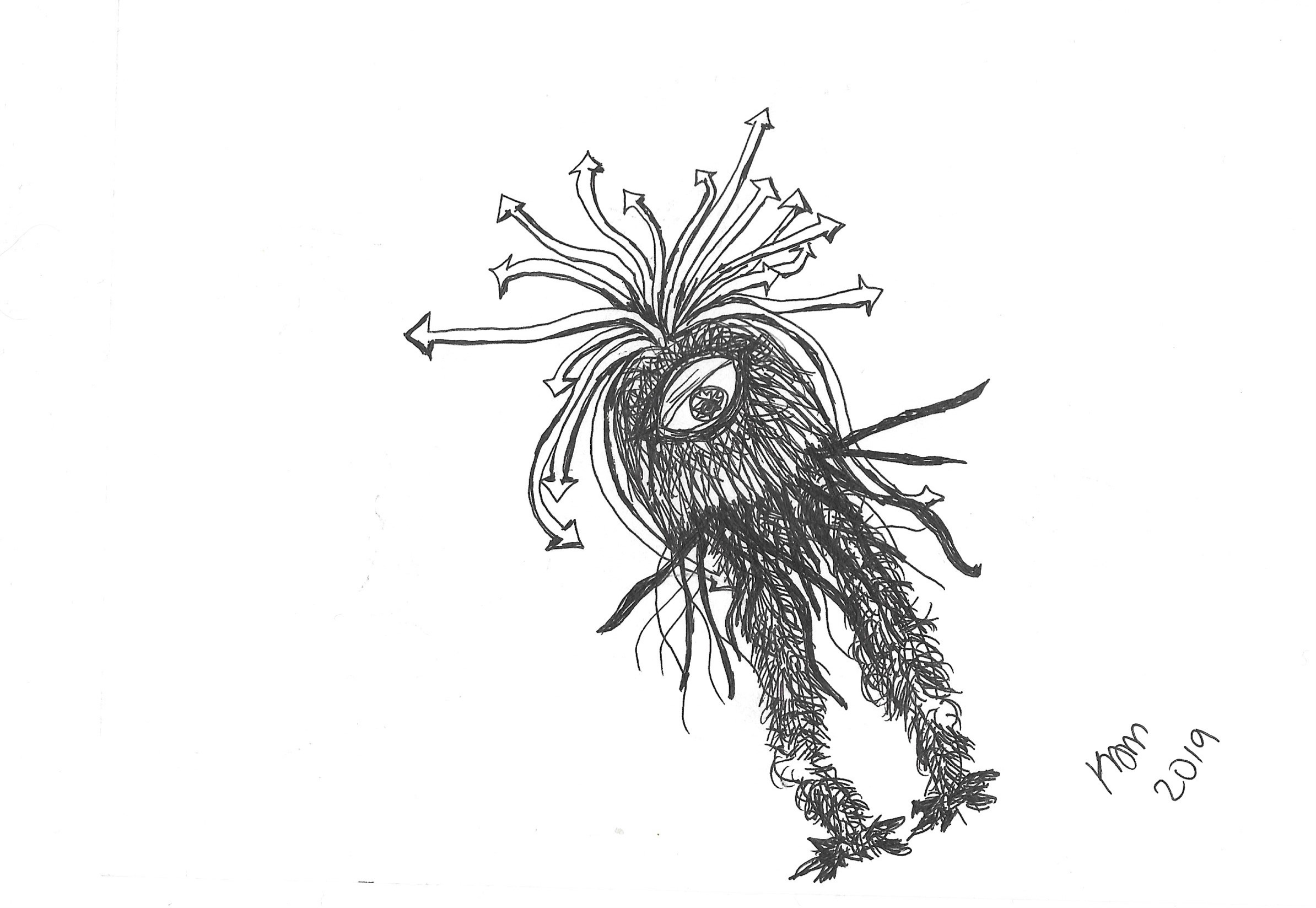 a bipedal cyclopian monster with hair tendrils in the shape of arrows on its head sticking out every which way. Covered in wiry little hairs except for its two knobbly knees.